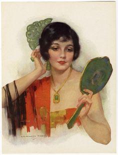 1920s J Knowles Hare Art Deco Pin up Print Vanity Fair Flapper Jade Mirror Fine
