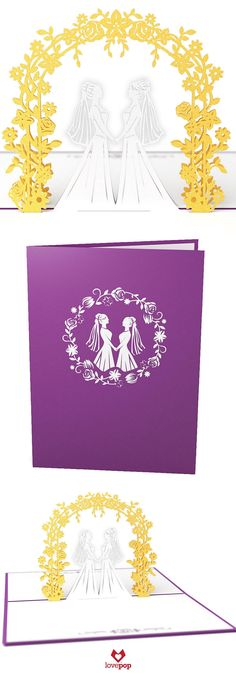 Surprise her and her soulmate with this lgbt wedding pop up card. Perfect for wedding stationery too! #lovewins