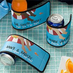 "OMG These ""Summer Fun©"" Personalized Can & Bottle Wraps (aka koozies) match that adorable doormat! These are perfect for a Summer or Lake House or by your own pool and they sell for as low as $5.95! You can personalize them with your family name and any cute message ... like ""No Shoes, No Problem!"" #LakeHouse #Beach #Pool"
