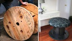 Turn a large spool into a stool.. with foam, fabric & a coat of paint.