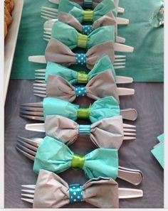 Bow tie napkin & silverware holders
