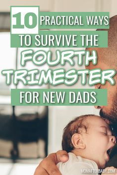 The fourth trimester AKA postpartum period after birth isn't just tough on moms. Dads struggle too! These 10 practical tips can help them get through this tough trimester, support mom, and bond with baby. After Birth, After Baby, New Fathers, New Dads, The Four, New Life, Period, Bond, Survival