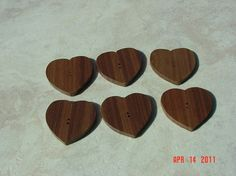 Heart shaped wooden buttons by ppwoodcrafts on Etsy, $7.50