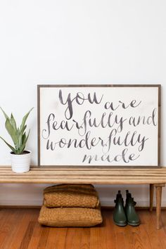 YOU ARE FEARFULLY AND WONDERFULLY MADE sign ~~~~~~~~~~~~~~~~~~~~~~~~~~~~~~~~~~~~~~~~~~~~~~~~~~ SIGN SIZE: 3x2 ft. HORIZONTAL LETTERING: