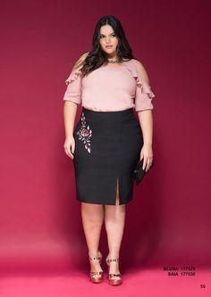 Program - Moda Feminina - Tamanhos Grandes Plus Size Skirts, Plus Size Dresses, Plus Size Outfits, Looks Plus Size, Plus Size Model, Curvy Fashion, Girl Fashion, Fashion Outfits, Curvy Women Outfits