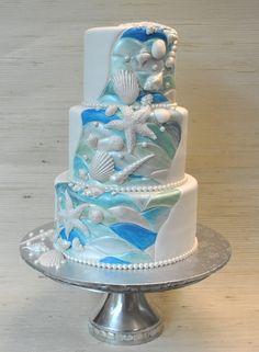 Blue+White+Turquoise- Beach theme wedding cake- The Cake Zone