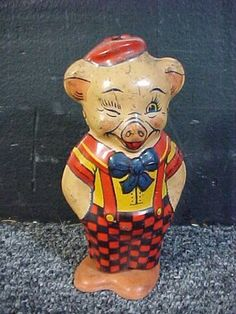 Vintage J Chein Toy Co Shuffling Winking Pig Mechanical Wind Up Litho Tin Toy