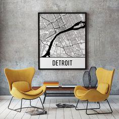 Detroit MI Map, Art, Print, Poster, Wall Art.