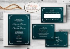 Classic teal wedding invitation set for you to print at home or at a print shop of your choice.  This listing is for digital files that I