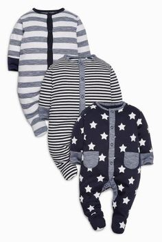 Navy Stars And Stripes Sleepsuits Three Pack (0mths-2yrs)