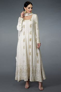 Deep Ivory-Gold Chikankari & Zardozi Hand Embroidered Anarkali Suit WhatsApp us for Purchase & Inquiry : Indian Gowns, Indian Attire, Indian Outfits, Indian Kurta, Designer Party Wear Dresses, Kurti Designs Party Wear, Pakistani Dress Design, Pakistani Dresses, Pakistani White Dress