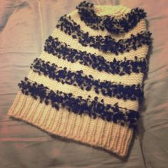 Icing beanie Super nice slouchy beanie white with black and gray fluff stripes Accessories Hats