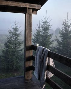 Fog in the morning at the cabin.