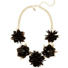 Natasha Accessories Flower Cluster Statement Necklace ($23) ❤ liked on Polyvore featuring jewelry, necklaces, black, statement necklace, chain necklaces, chain bib necklace, flower necklace and flower statement necklace
