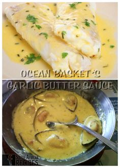 South African Recipes OCEAN BASKET'S GARLIC BUTTER SAUCE Ingredients: 150 g oz.) Margarine/Butter (preferably Rama) 250 ml cup) Fresh cream 2 tbsp. Braai Recipes, Fish Recipes, Seafood Recipes, Cooking Recipes, Oven Recipes, South African Dishes, South African Recipes, Ethnic Recipes, Kos