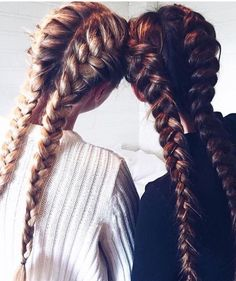 double french braids / double dutch braids side by side