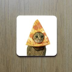 These coasters have pizza and cats on them.   18 Ways To Subtly Cover Your Home In Cats