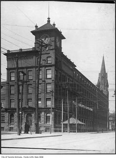 I was browsing old images of our city to compare street corners and corner stores from the past to what they looks like now. Then And Now Pictures, Toronto Ontario Canada, Vintage Architecture, Old Images, Vintage Photographs, Lifestyle Photography, Big Ben, Past, Places To Visit