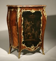 1140: LOUIS XV STYLE KINGWOOD & LACQUER SIDE CABINET : Lot 1140