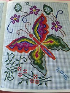 This Pin was discovered by Sev Cross Stitch Charts, Cross Stitch Designs, Cross Stitch Embroidery, Hand Embroidery, Cross Stitch Patterns, Butterfly Cross Stitch, Cross Stitch Flowers, Bead Loom Patterns, Craft Patterns
