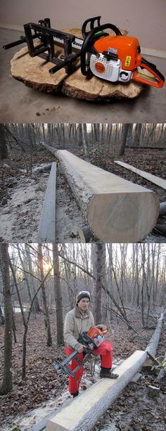 Wood Profit - Woodworking - If a tree falls in the woods… this portable mill is ready and able to turn it into lumber! Discover How You Can Start A Woodworking Business From Home Easily in 7 Days With NO Capital Needed! Wood Mill, Lumber Mill, Outdoor Projects, Wood Projects, Survival, Homemade Tools, Wood Tools, Autumn Trees, Wood Carving