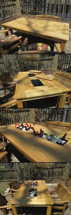 Patio Party Table. ice chest table. Plastic flower boxes are recessed into this table and are removable to empty the ice. Lids to cover the ice buckets let the table be fully functional. Http://krusesworkshop.blogspot.com/