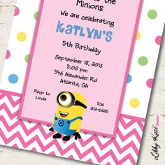 Minion Birthday Invitation Girl Printables by LibbyKateSmiles, $1.35