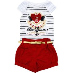 Conjunto Infantil Navy Feminino Vermelho - Nini & Bambini :: 764 Kids | Roupa bebê e infantil Beloved Shirts, Baby Posters, Two Pieces, Summer Girls, Little Princess, My Girl, Little Girls, Kids Outfits, Stylish