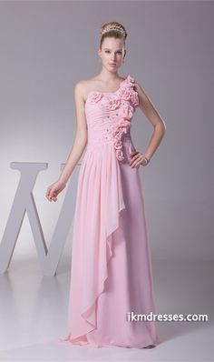 http://www.ikmdresses.com/Pink-Floor-Length-Chiffon-One-Shoulder-Bridesmaid-Dress-p19641