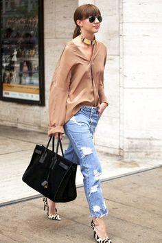 Le Fashion Blog Street Style Gold Choker Beige Silk Button Down Shirt Ripped Boyfriend Jeans Black Suede Tote Bag Leopard Print Pumps Via Popsugar