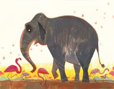 I love elephants. Art work by Joey Chou $45