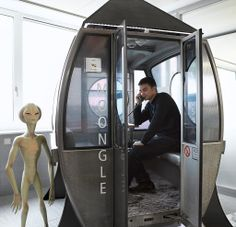 Sci-fi Gondola - Real Swiss ski gondolas converted into creative phone booth for the amazing Google Zurich offices