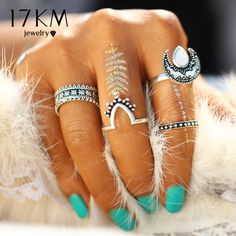 Punk Oval Moon Tibetan Sliver Color Ring Set for Women 4PCS/Set //Price: $8.49 & FREE Shipping //     #shopping #styles