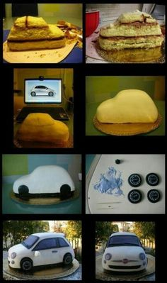 Car cake in pictures Cake Decorating Techniques, Cake Decorating Tutorials, Car Cake Tutorial, Fondant Tutorial, Cake Structure, Cake Shapes, Sculpted Cakes, Cake Craft, Novelty Cakes