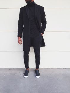All Black Everything Style - BLVCK Fashion - Fashionboxx All Black Everything Outfit Wearing All Black, All Black Outfit, Black Outfits, All Black Wardrobe Men, All Black Look Men, Black On Black Suit, All Black Style, Black Slip On Sneakers Outfit, Mens Slip On Sneakers