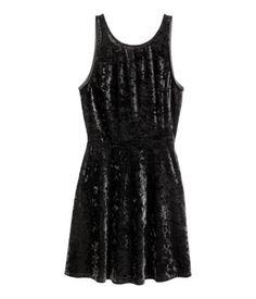 Short Dress | Black/velvet | Ladies | H&M US