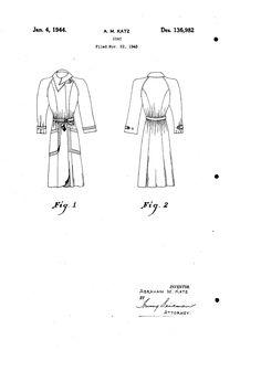 1943 DESIGN FOR A COAT  Abraham M. Katz