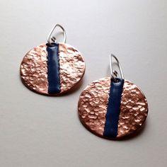 Copper disc earrings – Manka Enamels