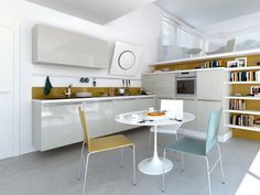Modern Round Kitchen Table And Chairs Kitchen Table Small Space, Modern Kitchen Tables, Small Modern Kitchens, Modern Kitchen Interiors, Kitchen Design Open, Round Kitchen, Open Plan Kitchen, Interior Design Kitchen, Kitchen Ideas