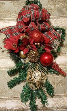 Christmas Wall Swag, Christmas Door Wreath, Christmas Door Hanger,  Modern Wreath, Holiday Wall Hanging, Christmas Door Hanger by WEEDsByRose on Etsy