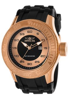 Invicta Men's Pro Diver Black Silicone Rose-Tone and Black Dial - Watch 14837,    #Invicta,    #14837,    #WatchesDiverQuartz