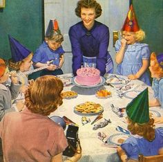 Vintage birthday party :: 1950s happy housewife serving cake to eager youngsters