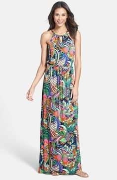 Laundry by Shelli Segal Front Keyhole Print Maxi Dress | Nordstrom