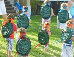 Ninja turtle costumes. Great for parties. Spray paint foil roasting pans from dollat store and use fabric for mask.