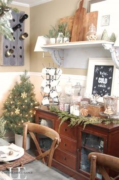 Christmas in the Dining Room - Unexpected Elegance Make a hot cocoa station for the cold season!  My kids and visitors LOVE this!!