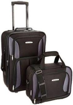 Rockland Luggage 2 Piece Set, Black/Gray, One Size - Luggage Sets Large Luggage, Best Luggage, Carry On Luggage, Luggage Sets, Cheap Luggage, Travel Tote, Travel Luggage, Air Travel, Cheap Travel