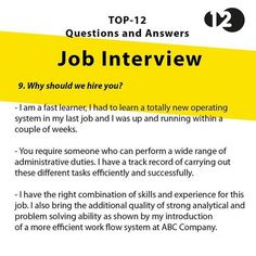 Job Interview Questions Part 9 Job Interview Answers, Job Interview Preparation, Interview Skills, Job Interview Tips, Job Interviews, Behavioral Interview, Resume Skills, Job Resume, Resume Tips