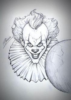 IT sketch giveaway by PatrickBrown - - Zeichnung IT-Skizzen-Wer Scary Drawings, Joker Drawings, Dark Art Drawings, Halloween Drawings, Pencil Art Drawings, Art Drawings Sketches, Disney Drawings, Halloween Art, Cute Drawings
