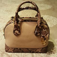Authentic Michael Kors Handbag Dome Satchel leather blush and snake skin has dustbag MICHAEL Michael Kors Bags Satchels