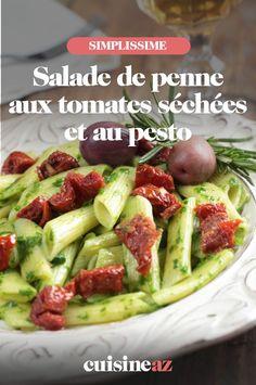 Cette salade de pennes aux tomates séchées et au pesto est parfaite pour accompagner un barbecue. #recette#cuisine#salade#pates #saladedepates #tomate #pesto Pesto, Tacos, Ethnic Recipes, Barbecue, Food, Pasta Salad, Chopped Salads, Cooking Recipes, Vegetable Stock Cubes